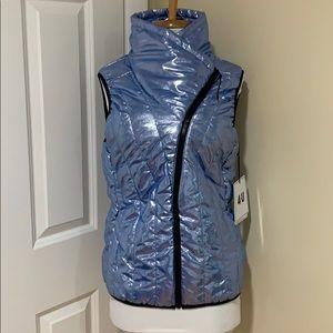 Blue vest asymmetric shiny with zipper sz m/l